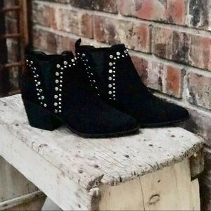 Black Ankle Boots with Silver Studs
